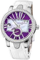 Ulysse Nardin Executive Dual Time Purple Dial Stainless Steel Ladies Watch 243-10B-30-07