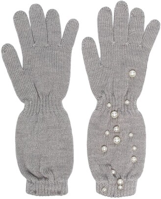 MonnaLisa Faux Pearl-Embellished Knitted Gloves