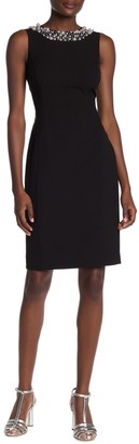 Calvin Klein Bead Trimmed Sheath Dress