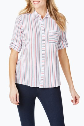 Foxcroft Zen Striped 3/4 Sleeve Surplice Back Shirt