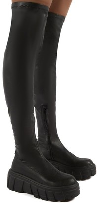 Public Desire Uk Lingo Over The Knee Chunky Sole Boots