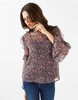 Fashion Union Sheer Floral Frill Top