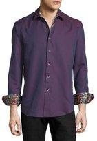 Robert Graham Kieran Tonal Fine-Stripe Sport Shirt, Red