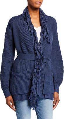 Kobi Halperin Monica Open-Front Fringe Belted Sweater