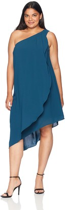 Adrianna Papell Women's Size Plus ONE-Shoulder Draped Gauzy Crepe Dress