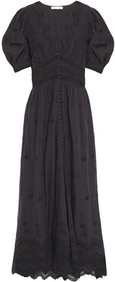 LoveShackFancy Lace-trimmed Broderie Anglaise Cotton Maxi Dress