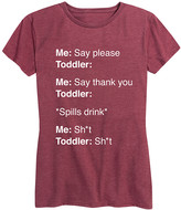 Instant Message Women's Women's Tee Shirts HEATHER - Heather Wine 'Say Please' Relaxed-Fit Tee - Women