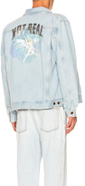 Off-White Not Real Angel Oversized Denim Jacket in Blue.