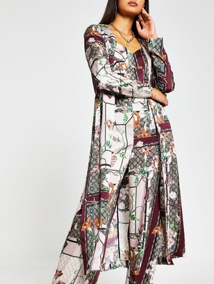 River Island Printed Belted Duster Jacket- Pink