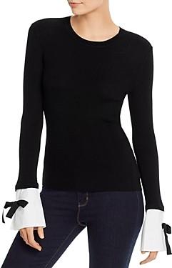 Paule Ka Ribbed Detachable-Cuff Wool Sweater