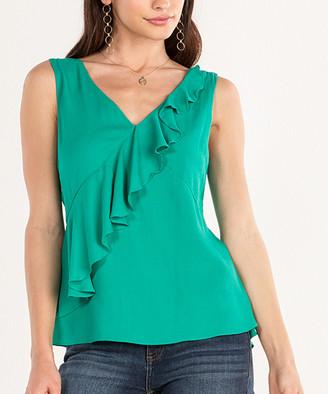 Miss Me Women's Blouses GREEN - Green Ruffle-Front Peplum Sleeveless Top - Women