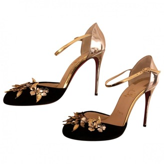 Christian Louboutin Gold Velvet Sandals