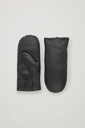 Cos Padded Leather Mittens