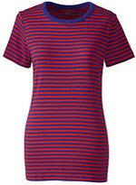 Lands' End Women's Shaped Cotton Crewneck T-shirt-Blackberry Paisley