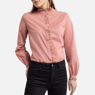 La Redoute Collections Cotton Ruffled High Neck Shirt with Long Sleeves