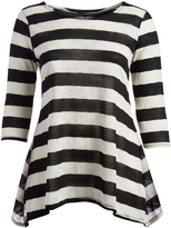 Glam Black & White Stripe Sidetail Tunic - Plus