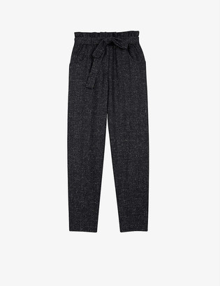 Maje Checked recycled wool-blend trousers