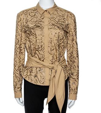 Roberto Cavalli Beige Embroidered Cotton Tie Front Blouse M