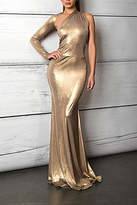 Savee Couture Metallic One Sleeve Dress