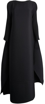 Issey Miyake Colorful Bits Pleated Cape Gown