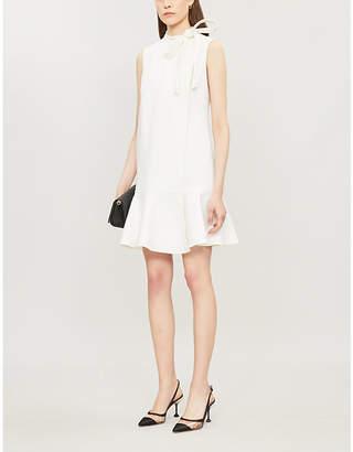 Valentino Tie-neck stretch-wool mini dress