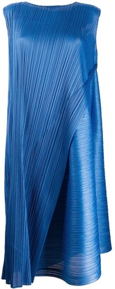Pleats Please Issey Miyake Pleated Wrap-Style Midi Dress