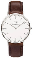 Daniel Wellington Classic Bristol Stainless Steel and Leather Strap Watch, 40mm