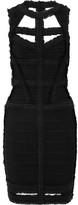Herve Leger Cutout Ruffled Bandage Dress - Black