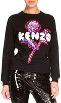 Kenzo Dandelion Crewneck Pullover Sweatshirt, Black