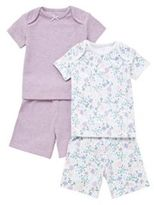 F&F 2 Pack of Floral Print and Plain Shorts Pyjamas, Infant Girl's