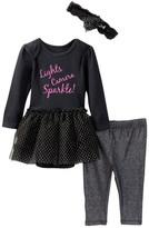 Vitamins Baby Lights, Camera, Sparkle! Skirted Bodysuit, Pant & Headband Set (Baby Girls)