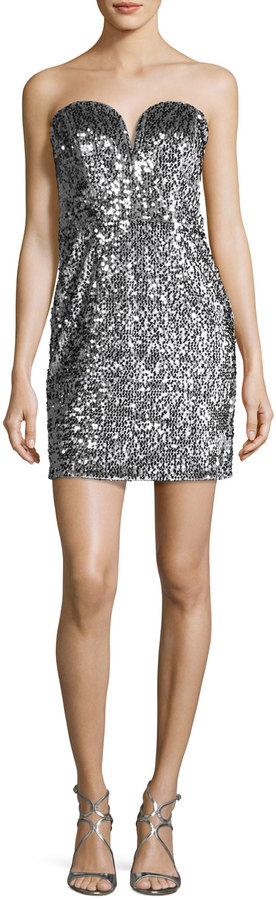 Milly Carly Sweetheart Sequin Cocktail Dress, Silver