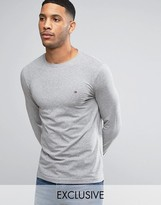 Tommy Hilfiger Long Sleeve Top Flag Logo in Gray Heather Exclusive to ASOS