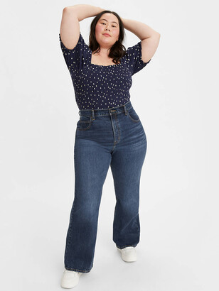 70's High Rise Flare Women's Jeans (Plus Size)
