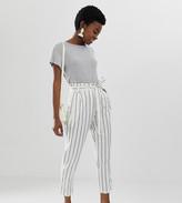 Asos DESIGN Petite linen tie waist tapered peg trousers