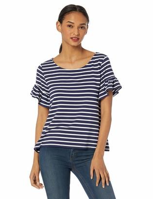 BB Dakota Womens just Havin' Fun Stripe French Terry Ruffle Sleeve top