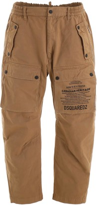 DSQUARED2 CARGO TROUSERS WITH LOGO 50 Brown Cotton