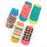 Pink Cookie 5-pk. cats, dots hearts & stripes neon no-show socks