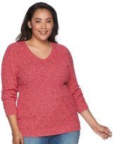 Croft & Barrow Plus Size Cable-Knit V-Neck Sweater