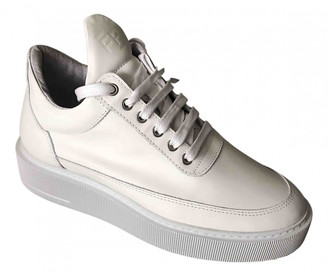 Filling Pieces White Leather Trainers