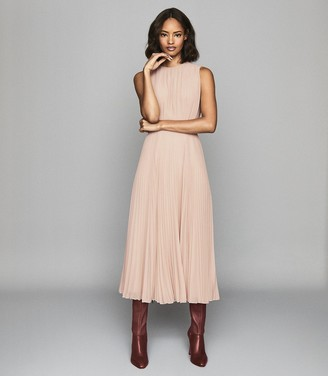 Reiss PANDORA PLEAT DETAILED MIDI DRESS Nude