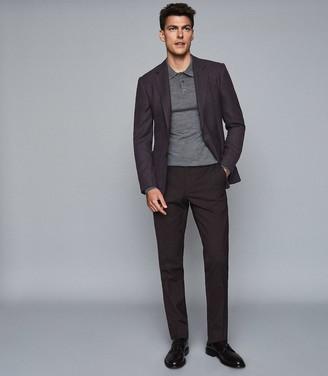 Reiss Trafford - Merino Wool Polo Shirt in Mid Grey Melange