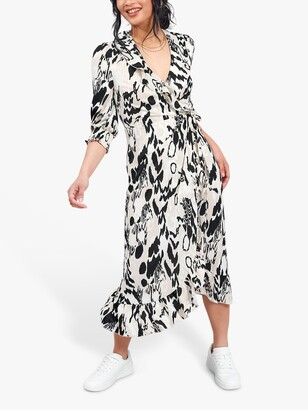 Little Mistress Abstract Print Wrap Midi Dress, Multi