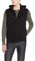 Southpole Men's Sleeveless Hooded Fine Twill Vest with Pocket Details