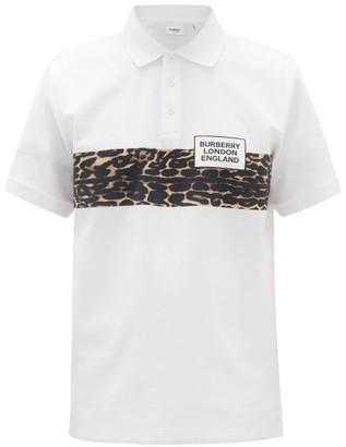 Burberry Somerville Leopard-print Cotton-blend Polo Shirt - White