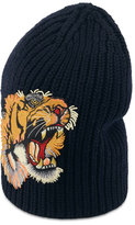 Gucci Wool Beanie Hat w/Tiger Patch, Navy