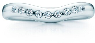 Tiffany & Co. Elsa Peretti wedding band ring with diamonds in platinum, wide