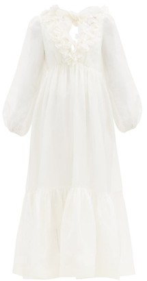 Zimmermann Lovestruck Flounced-neck Linen-blend Dress - White