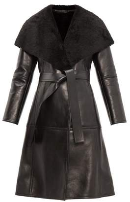 Balenciaga Shearling Collar Single Breasted Leather Coat - Womens - Black