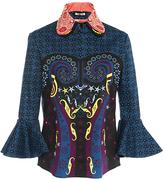 Holly Fulton Navy Embellished Double Collar Barbara Ruffle Shirt
